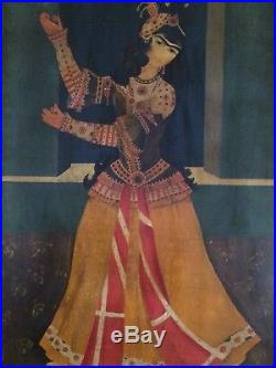 Vintage Persian Painting Of Qajar Lady Dancer