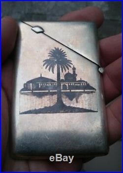 Vintage Signed Iraqi Niello Marsh Arab Solid Silver Card Case