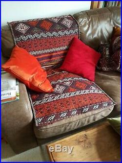Vintage XL Kilim Camel Saddle Bag Rug Persian / Turkish 67 x 140cm