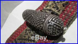 Vintage Yemen Jambiya Horn Handled Curved Dagger, Silver Adorned Belt & Sheath