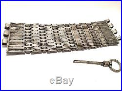 Vtg Antique Middle Eastern Palestine Bedouin Heavy Silver Mixed Metal BRACELET