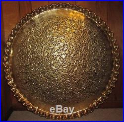 Vtg Large 39 Solid Brass Table Top Tray CUT LEAF Hand Chased Pierced Wall Decor