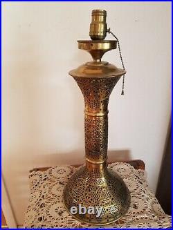 Vtg late 1880s-1920s Mid Eastern Oriental Palm Tree Pierced Brass Table Lamp
