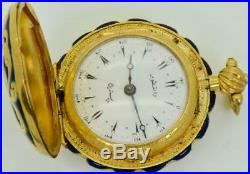 WOW! Antique Ralph Gout, London 18k gold plated&enamel Verge Fusee watch. Ottoman