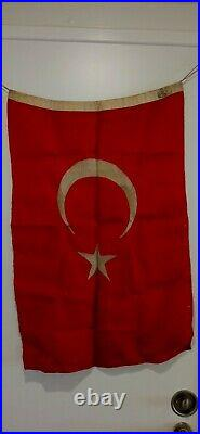 WWI Ottoman Empire Turkey Flag 1900s Rare Very Large Battle Flag Turkish