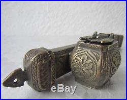 With Tughra ANTIQUE ISLAMIC DIVIT INKWELL PEN CASE bronze / brass