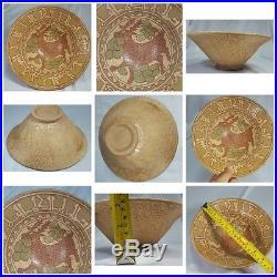 Wonderful Old Islamic Calligraphic Writing Ceramic Bowl 23 x 9 c m