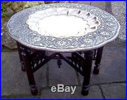 X-large Islamic Antique Folding Side Table With Brass Tray Top