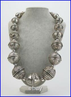 Yemen coin-silver large Zaydiya bead necklace