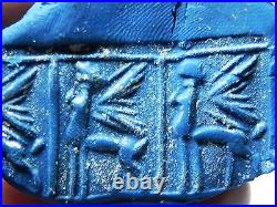 Zurqieh Af658- Ancient Canaanite Faience Cylinder Seal. Gold. 1700 1550 B. C