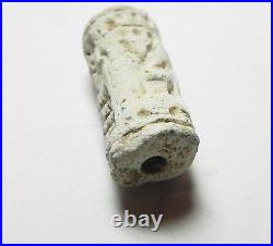Zurqieh -af718- Ancient Canaanite Inscribed Stone Cylinder Seal. 1700 1550 B. C