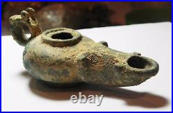 Zurqieh -co15h- Ancient Jordan. Roman Bronze Oil Lamp. 100 200 A. D